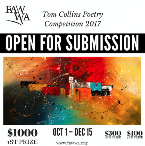 The Tom Collins Poetry Prize is open for submissions